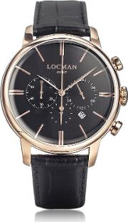 Locman Men's Watches, 1960 Rose Gold Pvd Stainlees Steel Men's Chronograph Watch Wblack Strap