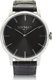 Locman Men's Watches, 1960 Stainlees Steel Men's Watch Wblack Croco Embossed Leather Strap
