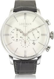 Locman Men's Watches, 1960 Stainless Steel Men's Chronograph Watch Wbrown Croco Embossed Leather Strap