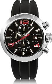 Change Stainless Steel Round Case Men's Chronograph W Silicone & Leather Straps