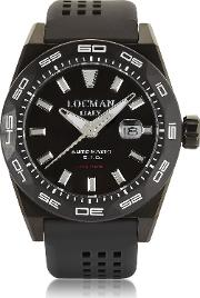 Locman Men's Watches, Stealth 300 Mt Analog Display Automatic Self Wind Black Pvd Stainless Steel, Titanium And Silicone Men's Watch