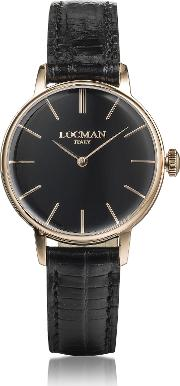 Locman Women's Watches, 1960 Rose Gold Pvd Stainless Steel Women's Watch Wblack Croco Embossed Leather Strap