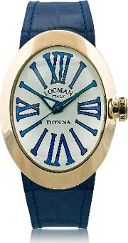 Locman Women's Watches, Change Gold Plated Stainless Steel Oval Case Women's Watch W3 Leather Straps