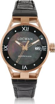 Locman Women's Watches, Montecristo Stainless Steel And Titanium Rose Gold Pvd Women's Watch Wcroco Embossed Leather Strap