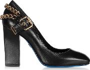 Black Leather Pump Wdecorative Buckle And Chains.