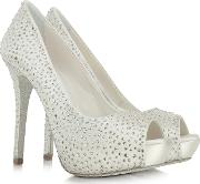 Ivory Satin Platform Open Toe Pump