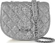 Silver Metallic Quilted Eco Leather Crossbody Bag
