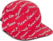 Maison Kitsune 5p Red Cotton Canvas Baseball Cap
