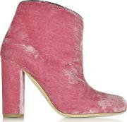 Eula Pink And Charcoal Velvet Ankle Boots
