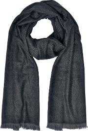 Silk And Wool Long Scarf Wfringes