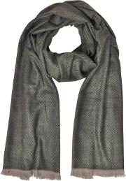Zigzag Stripe Cashmere, Silk And Wool Long Scarf Wfringes
