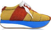 Ochre And Rust Tech Fabric Big Foot Sneakers