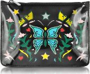 Graphic Butterfly Black Nappa Leather Pouch