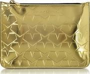 Laminated Gold Leather Pouch Wstars