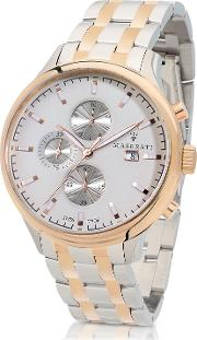 Attrazione Two Tone Stainless Steel Men's Bracelet Chrono Watch