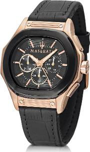 Maserati Men's Watches, Fuoriclasse Multi Function Dial And Black Eco Leather Strap Men's Watch