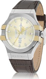Maserati Men's Watches, Potenza Two Tone Stainless Steel And Brown Leather Strap Men's Watch