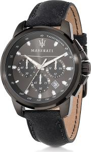 Successo Black Stainless Steel Case And Leather Strap Men's Chrono Watch