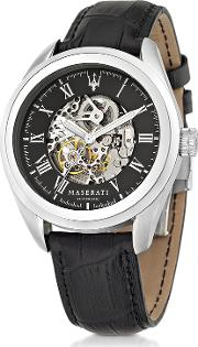 Traguardo Silver Tone Stainless Steel Case And Black Embossed Leather Strap Men's Watch