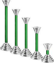 Luce Green Murano Glass And Sterling Silver Candleholder