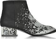 Shacklewell Silver Glitter Printed Suede Bootie