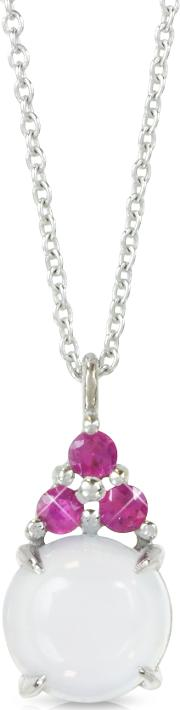Chalcedony And Pink Sapphires 18k White Gold Pendant Necklace