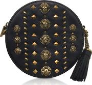 Black Studded Polished Leather Canteen Crossbody