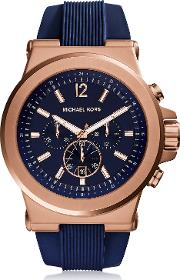 Dylan Rose Gold Tone Stainless Steel Case And Blue Silicone Strap Men's Crono Watch