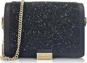 Jade Black Crystals And Leather Clutch
