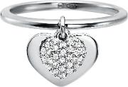 Kors Heart Plated Sterling Silver Pave Ring