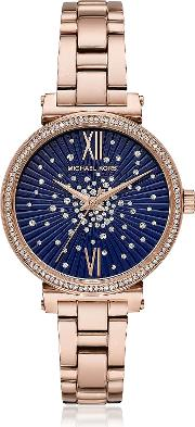 Sofie Pave Rose Tone Watch
