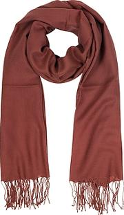Brick Red Wool And Cashmere Fringed Stole