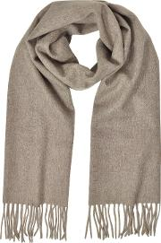 Cashmere And Wool Brown Fringed Long Scarf