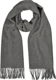 Cashmere And Wool Dark Gray Fringed Long Scarfitalian Design.