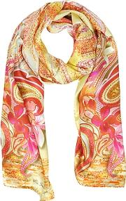 Flowers And Paisley Print Silk Stole