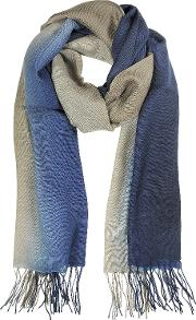 Gradient Bluebrown Wool And Cashmere Stole