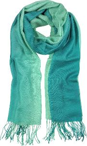 Gradient Green Wool And Cashmere Stole
