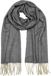 Wool And Silk Fringed Long Scarf