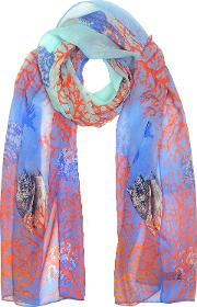 Mila Schon Long Scarves, Light Blue Coral Reef Printed Chiffon Silk Stole