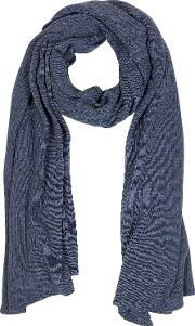 Solid Dark Blue Wool Blend Stole