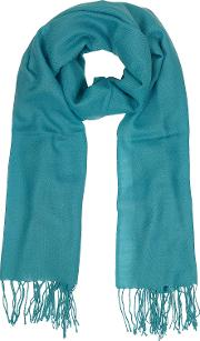Mila Schon Long Scarves, Turquoise Wool And Cashmere Fringed Stole