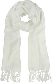 Mila Schon Long Scarves, White Wool And Cashmere Stole