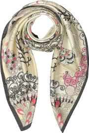 Seahorses And Coral Reefs Print Twill Silk Square Scarf