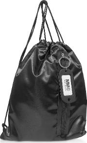 Black Drawstring Nylon Backpack