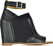 Black Leather Wedge Sandal Wankle Wrap