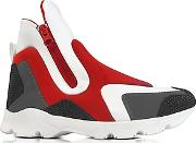 Redgray Neoprene And White Leather High Top Women's Shoes