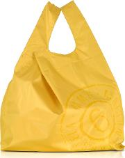 Yellow & White Double Face Nylon Market Bag Wlogo