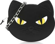 Black Calf Leather Cat Shoulder Bag