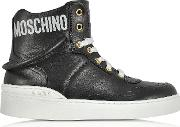 Black Nappa Leather High Top Sneakers