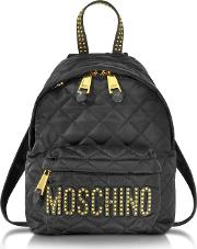 Black Quilted Nylon Small Backpack Wstuds